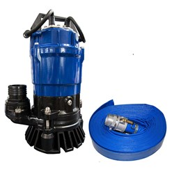 BIA-AHS10A - PUMP SUBMERSIBLE LIGHT CONSTRUCTION WITH FLOAT 350L/MIN 18M 750W 240V +LAYFLAT HOSE 20M