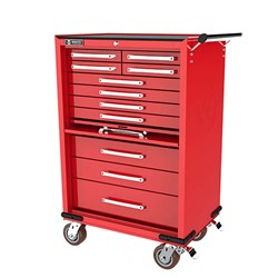 WHI496B - 11 DRAWER ROLL CABINET with lockable drop front