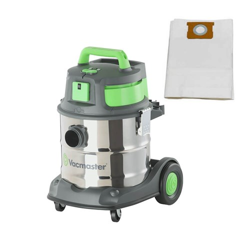 VACUUM WET / DRY 20LTR INDUSTRIAL 1500W  MOTOR STAINLESS TANK with 5 x FILTER BAGS